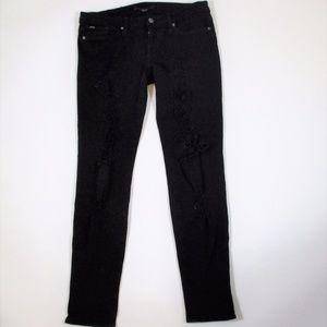 Joes Jeans Black Skinny Jeggings Ripped Distressed